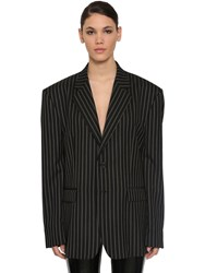 Maison Martin Margiela Striped Wool Jacket Black