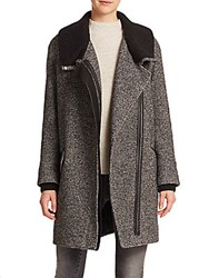 Vince Shawl Collar Asymmetric Coat Black White