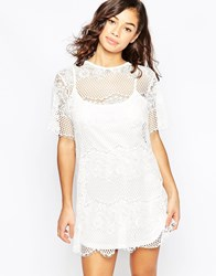 Mela Loves London Lace Shift Dress Cream