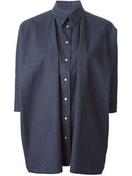 Mm6 By Maison Martin Margiela Three Quarter Length Sleeve Denim Oversized Shirt Blue