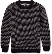 Nigel Cabourn Two Tone Wool Sweater Navy