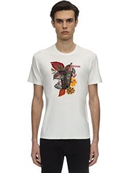Etro Embroidered And Flocked Cotton T Shirt White