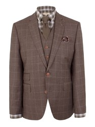Gibson Wool Check Tailored Fit Jacket Brown