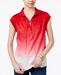 Tommy Hilfiger Lace Up Ombre Top Only At Macy's Scalet