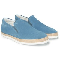 Tod's Raffia Trimmed Suede Slip On Sneakers Blue