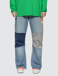 Off White Reconstructed Panelled Jeans Blue