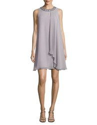 Vince Camuto Beaded Trapeze Dress Silver
