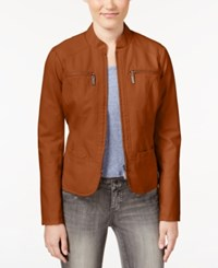 Joujou Jou Jou Faux Leather Motorcycle Jacket Brandy