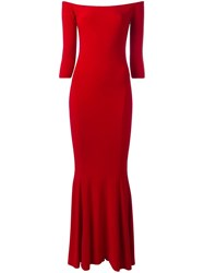 Norma Kamali Off Shoulders Fitted Dress Red