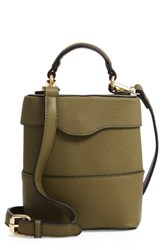 Leith Bicolor Faux Leather Cylinder Bag Green Olive