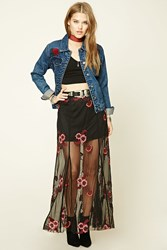 Forever 21 Floral Embroidered Maxi Skirt Black Wine
