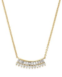 Kc Designs 14K Yellow Gold Mosaic Baguette And Round Diamond Fan Necklace 16 White Gold