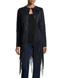 Elie Tahari Teddy Fringe Topper Jacket Navy