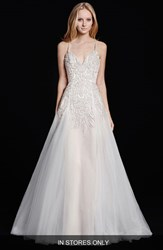 Women's Hayley Paige 'Comet' Embellished Bodice A Line Tulle Gown In Stores Only