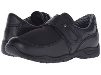 Drew Shoe Antwerp Black Leather Black Stretch Women's Hook And Loop Shoes