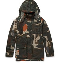 The Workers Club Worker Camouflage Print Waxed Cotton Canva Jacket Army Green