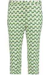 Missoni Woman Cropped Crochet Knit Slim Leg Pants Light Green