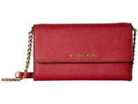 Michael Michael Kors Jet Set Travel Large Phone Crossbody Cherry Cross Body Handbags Red