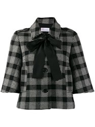 Red Valentino Redvalentino Cropped Checked Jacket Black