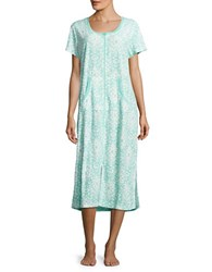 Miss Elaine Printed Zippered Robe Turquoise
