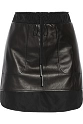 10 Crosby By Derek Lam Layered Leather Mini Skirt Black