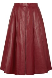 Alexander Mcqueen Pleated Leather Skirt Red
