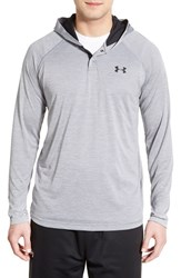 Men's Under Armour 'Ua Tech' Long Sleeve Hooded Henley Steel