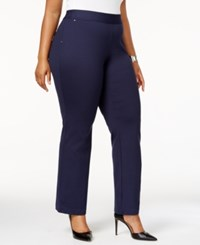 Inc International Concepts Plus Size Pull On Straight Leg Pants Created For Macy's Deep Black