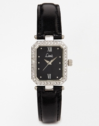 Limit Black Diamante Watch Silver