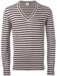 Vivienne Westwood Man Striped V Neck Jumper Pink And Purple