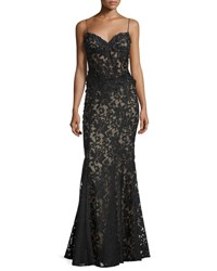 Mignon Embellished Lace Corset Gown Black Nude