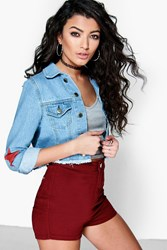 Boohoo High Waisted Denim Tube Shorts Berry