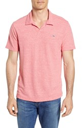Vineyard Vines Stripe Linen And Cotton Polo Jetty Red