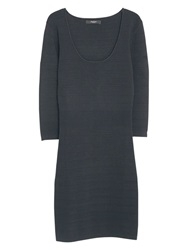 Mango Fitted Textured Dress Black
