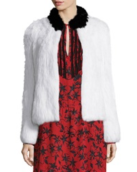 Zadig And Voltaire Louis Rabbit Fur Jacket Blanc Noir