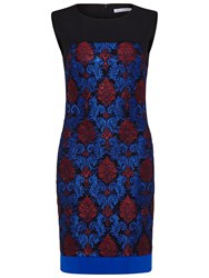 Gina Bacconi Embroidered Lace Panel Dress Royal Blue