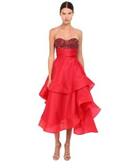 Marchesa Strapless Satin Faced Organza Tea Length Gown With Crystal Encrusted Bustier And Multilayered Cascading Circle Horsehair Skirt Red Women's Dress
