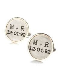 Personalized Round Cuff Links 2 Lines Gold Silver Men's Silver Gold Trim Heather Moore