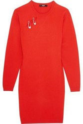 Versus By Versace Woman Embellished Cutout Knitted Mini Dress Red