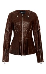 Kitx Flower Peplum Leather Jacket Brown