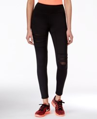 Jessica Simpson The Warm Up Juniors' Ripped Mesh Trim Active Leggings Only At Macy's Jet Black