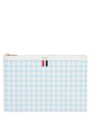 Thom Browne Large Gingham Grained Leather Pouch
