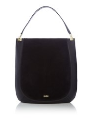 Biba Tempest Suede Panel Leather Hobo Black