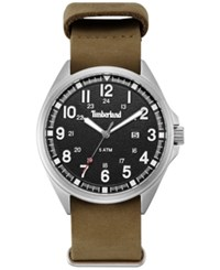 Timberland Men's Raynham Brown Leather Strap Watch 44X48mm Tblgs14829js02as Silver
