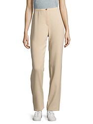 Basler Banded Waist Flat Front Pants Taupe