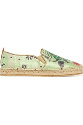 Etro Embroidered Satin Espadrilles Sage Green