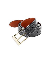 Saks Fifth Avenue Crocodile Leather Belt Grey