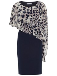 Gina Bacconi Plain Dress With Animal Floral Cape Navy