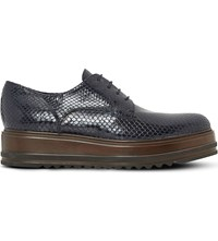 Dune Folde Oxford Flatform Shoes Navy Reptile