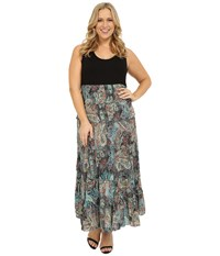 Karen Kane Plus Size Floral Paisley Print Tiered Maxi Dress Print Women's Dress Multi